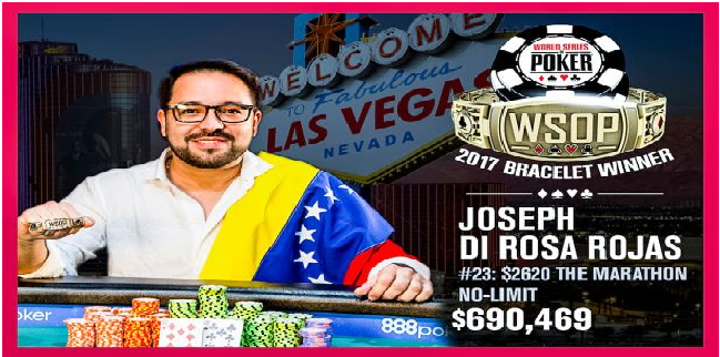 Joseph Di Rosa Rojas of Venezuela wins Event#23 of 2017 WSOP