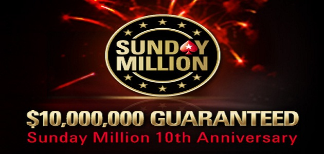 PokerStars celebrates 10th Anniversary Sunday Million for $10 Million Guaranteed