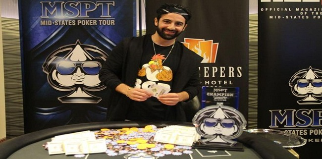 """American poker professional Aaron Massey has won the biggest Mid States Poker Tour event of his life and collected a cash prize of amount $174,658. The prestigious tournament attracted 820 participants from entire world and generated $820,000 as total prize pool, which bested $200,000 Guaranteed, but it was Massey who played great till the end of the day and took the first prize of the event as well as collected the title of the championship.  This is the largest prize win by the US player outside of Las Vegas. The winner defeated a countryman Ron Kruk who got $106,383 as his winning share from the tournament. Massey was very pleased after winning this great shot and said that this is what I was looking for, since last 12 months. I do quite well in big fields and I love to do well in mid major tournaments. Top prize winners of the event are as follows:- 1:- Aaron Massey wins the first prize of the championship for an amount $174,658. 2:- Ron Kruk of Osceola, IN took home $106,383, being the runner up of the event. Third, Fourth and fifth positions of the events were for players named Jason Smith($69,228), Rodger Johnson($47,952) and Chris Blik of Grandville, MI for $34,932. Sixth, seventh and eighth positions of the Mid states Poker Tour belongs to Richard Bai($26,834), Al Singletary($22,150) and David Bermanof Solon, OH for total $18,498. The first elimination for the final 10 players was of Ryan Lally, just after a couple of hands. He hit the rail to tenth place for an amount $11,354, whereas just after his removal another player named Brian Brenneke took the path to the rail for a winning share of amount $14,847. Top 81 places/finishers of the tournament got some payment according to their play and ranks. The 81st6 place was for Kou Vang. This is the fifth largest win by American player """"Massey"""" in his poker career."""