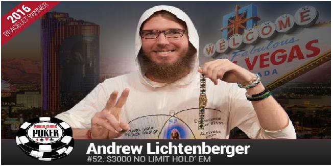 A New Yorker Andrew Lichtenberger wins the Event#52 of WSOP